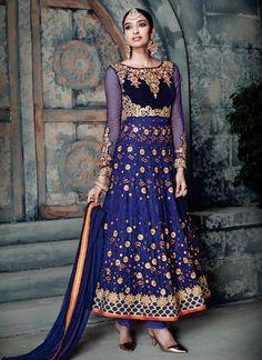 Navy Blue Embroidered Anarklai Suit
