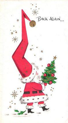 Vintage Pointy Hat Santa Christmas card 1966