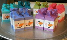 This would be cute to hold the snowman marshmallows.pn New protective covers for Travel luggage suitcase stretchable apply to case Christmas Paper Crafts, Christmas Gift Box, Christmas Projects, Holiday Crafts, Christmas Holidays, Christmas Ideas, Milk Carton Crafts, Milk Cartons, Crafts For Kids