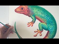 (33) Gecko watercolour painting - YouTube