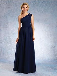 A-Line One-Shoulder Long Navy Chiffon Bridesmaid Dresses 906009