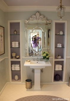 lavender bathroom with Venetian mirror