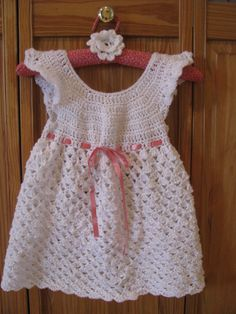 Crocheted shell pattern dress with flower barrette - adapted from a pattern Pattern Dress, Dress Patterns, Crochet Shell Pattern, Barrette, Summer Dresses, Knitting, Flower, Craft, Fashion
