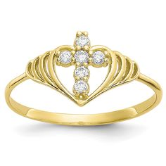 ApplesofGold.com - 10K Gold Cross Inside Heart CZ Ring Jewelry $125.00 Yellow Rings, Christian Jewelry, Types Of Rings, Gold Cross, Or Rose, Rose Gold, Gold Material, Band Rings, Gifts For Women