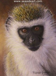 Little Monkey by Linda Rossin, New Jersey. Acrylic painting is 3 1/4″ x 1 3/4″ ; frame: 6 1/2″ x 5 3/4″ #art #artforsale This work of art has been SOLD