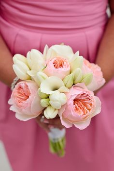 pink garden roses, white mini calla lilies and white tulips Designed By: hillside-consultants.com
