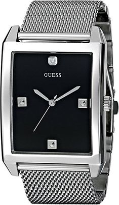 e42ffbd19 GUESS Men's U0279G1 Dressy Silver-Tone Watch with Black Dial and Mesh  Deployment Buckle
