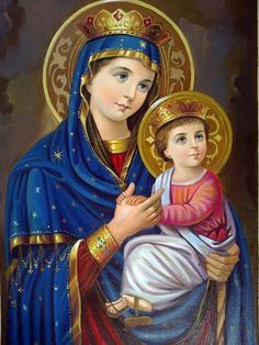 Mary ++ Jesus by on DeviantArt Blessed Mother Mary, Divine Mother, Blessed Virgin Mary, Religious Photos, Religious Art, Images Of Mary, Queen Of Heaven, Christ The King, Mama Mary