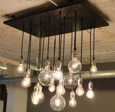 Love this idea. Reclaimed wood. Edison bulbs. #urbanchandy