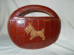 Art Deco Crocodile Skin and Scottie Dog Handbag