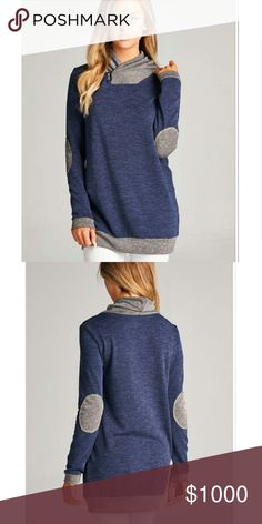 Coming soon!!! Colorblock tunic with elbow patches Perfect for fall! Rayon, spandex. Navy and gray. Arrives early October. Photos used with permission. Tops Tunics