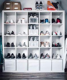 How many sneakers do you see? Shoe Storage Wardrobe, Shoe Closet, Shoe Wall, Shoe Room, Older Boys Bedrooms, Shoe Box Organizer, Sneaker Storage, Hypebeast Room, Sneakers Box