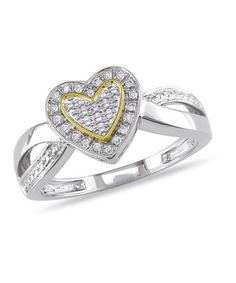 Take a look at this Diamond & Yellow Rhodium Heart Ring by Delmar on #zulily today! $50 !!