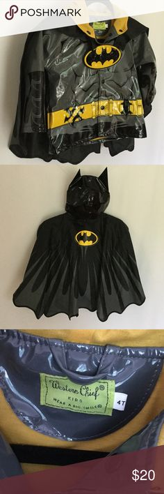 Batman raincoat with cape 4T NWOT Western Chief Batman Raincoat. This jacket is in perfect condition NWOT, it comes with a removable cape, bat ears on the hood, and the batman emblem on the front LIGHTS UP💥 . Perfect for your little guy on Halloween or just everyday 😄 Western Chief Jackets & Coats