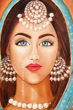 Mandeep - The Queen of Pearls - oil on canvas India Painting, Painting Of Girl, Painting Tips, Watercolor Painting, Watercolor Artists, Painting Lessons, Painting Art, African Art Paintings, Abstract Paintings