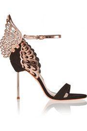 Evangeline suede and laser-cut metallic leather sandals