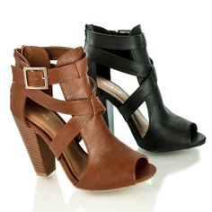 Mash01 Peep Toe Cut Out Cross Buckle Strap Stacked High Heel Booties