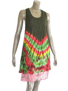 Green Short sleeveless Cotton Women Dress with by NaniFashion, $34.99