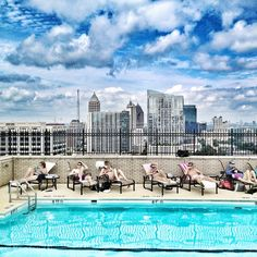View of Atlanta skyline from the Georgian Terrace rooftop pool