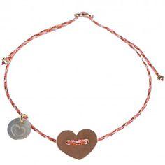 """Das Lua-Armband """"Loveheart"""" in Koralle mit feinem Goldfaden eignet sich perfekt als Glücksarmband oder Freundschaftsarmband. Jetzt bei melovely!"""