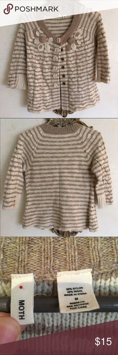 Moth Knit Sweater Lovely cream and light brown 3/4 sleeve sweater by Moth. Cute knit flower details on the front and on button snaps. Great condition. Perfect for spring! Anthropologie Sweaters