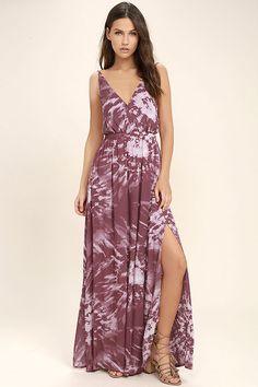 Lulus Exclusive! Be cool and captivating in the Live in Harmony Mauve Tie-Dye Maxi Dress! This elegantly simple Boho maxi is composed of gauzy woven rayon decorated with mauve tie-dye print. Surplice bodice (with modesty snap) falls from a network of spaghetti straps into an elasticized waist and strappy, open back. Full maxi skirt with twin side slits.