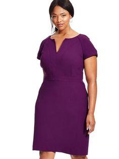 Plus Size TOCCA V-neck Sheath Dress In Tyrian Purple