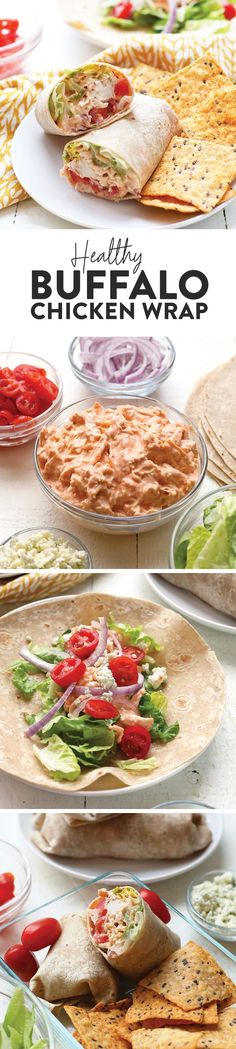 If you are looking for a healthy on-the-go lunch to bring to work that is full of protein and veggies, you will love our Healthy Buffalo Chicken Wrap recipe. This Buffalo Chicken Wrap is made with Greek yogurt, shredded chicken, hot sauce, and all the fixings. Healthy Lunches For Work, Prepped Lunches, Healthy Snacks, Healthy Recipes, Work Lunches, Healthy Foods, Easy Recipes, Easy Meals, Healthy Eating