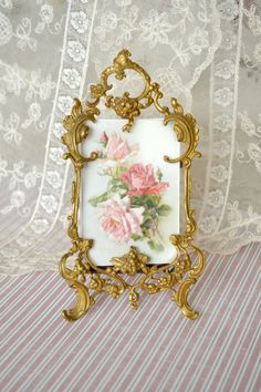 French Antique Ormolu Picture Frame - pretty - but pretty enough for $85