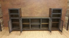 Industrial Entertainment Center Industrial by IndustEvo Industrial Chic, Industrial Style Furniture, Vintage Furniture, Industrial Design, Industrial Entertainment Center, Elderly Home, Small Cabinet, Wood Surface, Furniture Companies
