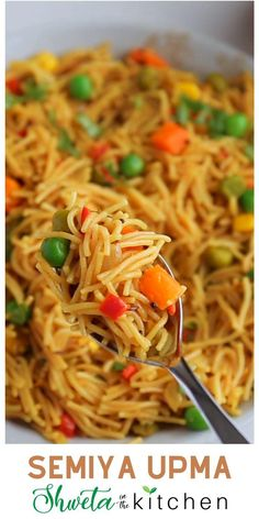 Visit the blog to get the recipe and instructions to make Semiya Upma. This is a healthy, vegan, and savory South Indian breakfast recipe made with vermicelli, vegetables, and spices. Also known as vermicelli upma, sevai upma, or seviyan upma, it is easy to make and ready in 30 mins. Perfect for breakfast, snack, easy dinner, or lunchbox!! I'm sharing how to make Semiya upma using the stovetop and Instant Pot with easy step-by-step photos and video. Semiya Upma, South Indian Breakfast Recipes, Instant Pot, Lunch Box, Spices, Vegan, Dinner, Vegetables, Healthy