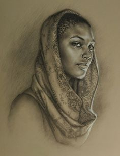 """Sea"" - Sara Golish, charcoal and conté on toned paper {contemporary figurative realism artist beautiful #naturalhair female head art african-american black woman face portrait cropped painting #loveart} <3"