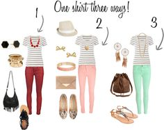 """""""One Shirt - Three Ways!"""" by ask-taylor on Polyvore"""