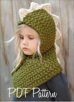 Knitting PATTERN-The Dalton Dino Cowl (6/9 month - 12/18 month - Toddler - Child - Adult sizes)