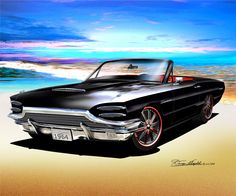 Hot rod and custom car fine art prints by Danny Whitfield Car Pictures, Car Pics, Ford Thunderbird, Car Makes, Car Drawings, Us Cars, Car Painting, Automotive Design, American