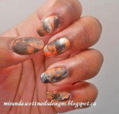 Halloween Marble Manicure - #halloween #marble #matte #black #orange #halloweenmani #nails #nailart - bellashoot.com