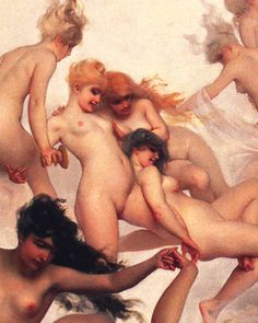 "harem-esque: "" "" Faust's Vision (Detail), Luis Ricardo Falero, 1880 "" "" interesting note: Spanish painter Luis Falero was father to artist Marcel René Herrfeldt who worked in a very similar style,. Social Art, Spanish Painters, Classical Art, Erotic Art, Figurative Art, Painting Inspiration, Female Art, Painting & Drawing, Sexy Painting"