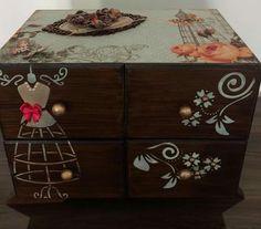 Decoupage Box, Decoupage Vintage, Stencils, Decorative Boxes, Shabby Chic, Crafts, Diy, Painting, Furniture