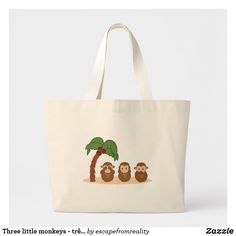 Shop Three little monkeys - three macaquinhos large tote bag created by escapefromreality. Three Wise Monkeys, Three Little, Little Monkeys, Large Tote, Reusable Tote Bags, Unisex, Gifts, Shopping Bags, Accessories