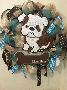 Bulldog wreath by AmeliasWreathsofJoy on Etsy