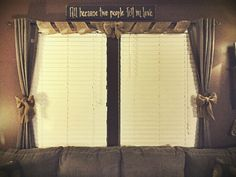 Used burlap garland roll to make my window valance and curtain tie backs :)