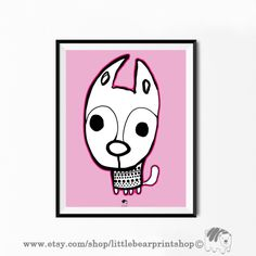 Cute Dog Print in Pink Size A2 Digital Download 8.68€. Printable artwork is a beautiful, quick and cost effective way of updating your art. Available on Etsy. ❤️🐶 Bear Print, Orange Background, Wall Prints, Cute Dogs, Snoopy, Printable, Etsy Shop, Digital, Handmade Gifts