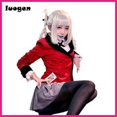 Anime Kakegurui Cosplay Costumes Kirari Momobami School Uniforms JK Sailor Mavy Long Sleeve T Shirt College Suit Skirt