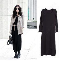 Discount China china wholesale Fashion Gasual Soft Jumpsuit Round Neck Womens Long Sleeve Long Skirts Dress [31375] - US$12.99 : Bluelans