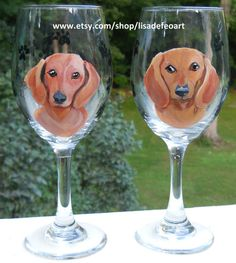 Pair of custom hand painted dachshund wine glasses, www.etsy.com/shop/lisadefeoart