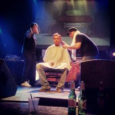 Haircut right on our stage. Thanks, Aesop.