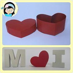 Letras 3D com caixa coração