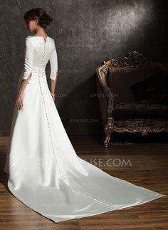 Forme Princesse Epaules nues Traîne watteau Satin Robe de mariée (002004779)