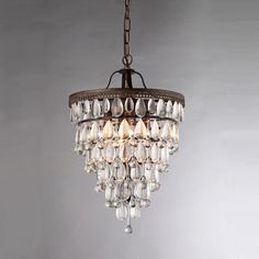Martinee Antique Bronze and Crystal Inverted Pyramid Chandelier - Overstock™ Shopping - Great Deals on Warehouse of Tiffany Chandeliers & Pendants