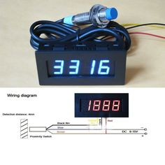 Digital blue LED Punch Tachometer RPM Speed Panel Meter 5-9999RPM Tacho Gauge + Hall Proximity Switch Sensor 12V 8-15v